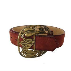 Leather Rust Color Large Floral Buckle Belt